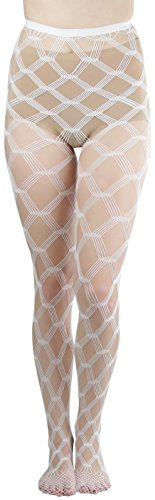 ToBeInStyle Women's Seamless Spandex Diamond Lace Multi Net Pantyhose Stockings - White - One Size: (Lycra Fishnet Pantyhose)