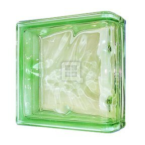 Quality Glass Block 7.5 x 7.5 x 3 Basic Wave Green Color End Block