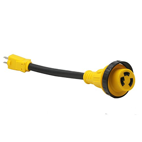 15A Male to 30A Female RV Power Adapter Cords Electrical Twist Lock Adaptors 12-inch(15M30T) ()
