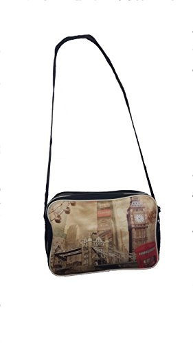 World of Shawls - Bolso estilo cartera para mujer SCHAL:Blau/Rot & TASCHE:Big Ben/Telefon Box
