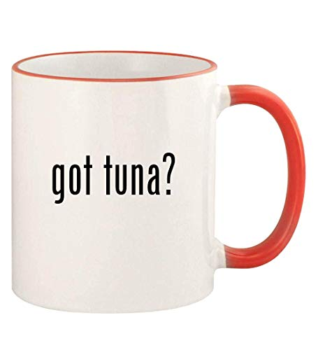 got tuna? - 11oz Colored Rim and Handle Coffee Mug, Red