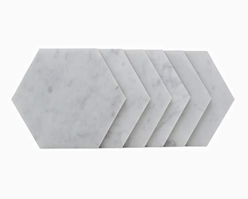 Stella Premium Italian White Carrara Marble Hexagon Drink Coasters (Set of 6)