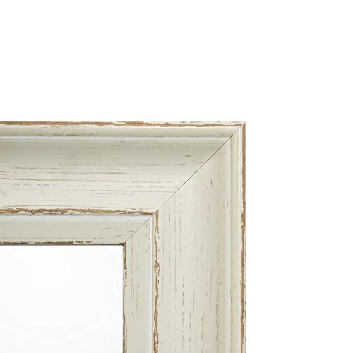Golden State Art, 11x14 Cream Color Photo Frame, Shabby Chic Distressed Wood Grain Pattern, 2-inch Width, with Ivory Mat for 8x10 Picture & Real Glass -