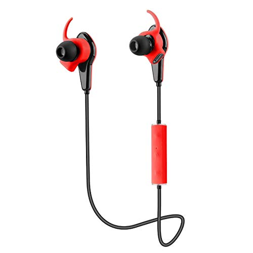 520 Wireless Bluetooth Stereo Headphone APP Control Bluetooth 4.0 CSR8645 Heart Rate Pedometer Control IP55 in-Ear Earphone Hands-Free Headset with Mic for Android/iOS Smart Phones Red (Hands Navigator Free Headset)