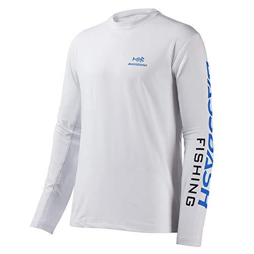 Bassdash Fishing T Shirts for Men UV Sun Protection UPF 50+ Long Sleeve Tee T-Shirt (White/Vivid Blue Logo, 3X-Large) ()