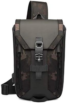 FANDARE Anti-Theft Brusttasche Sling Bag mit USB Schultertasche Herren Grosse Kapazität Crossover Bag Umhängetasche für Schule Outdoorsport Wandern Radfahren Bergsteigen Reisen Polyester Camo