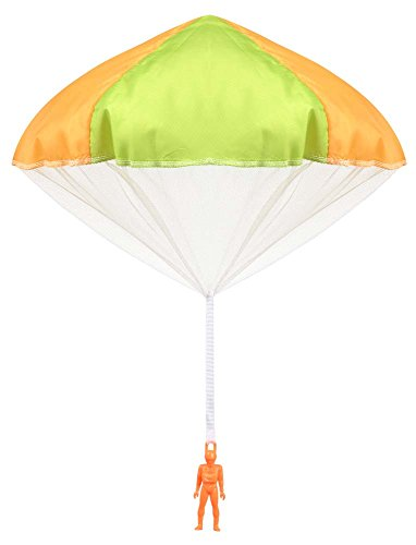 Aeromax Original Tangle Free Toy Parachute has no strings to tangle and requires no batteries.  Simply toss it high and watch it fly!