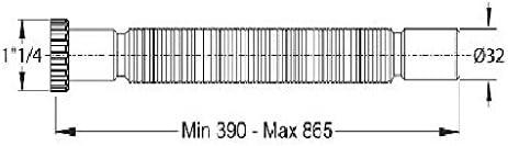 Bonde design avec siphon flexible 1 1//4 et manchette en caoutchouc NW 30//40//50 Tuyau d/écoulement pour lavabo avec valve Push-Open 5//4 /Ø 32 mm Montage facile sans outil Extensible de 390 /à 865 mm