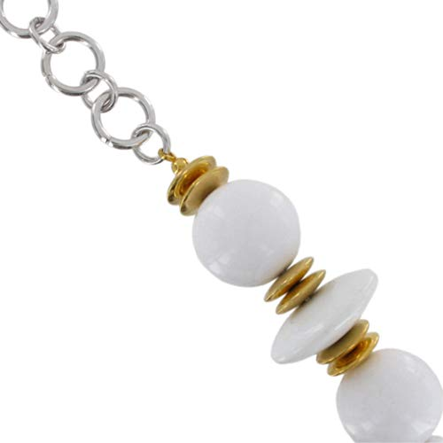 White Chunky Lucite Beaded Chain Necklace 30