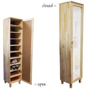 Genial Pine Shoe Storage Cabinet With Mirror For Up To 10 Pairs Of Shoes