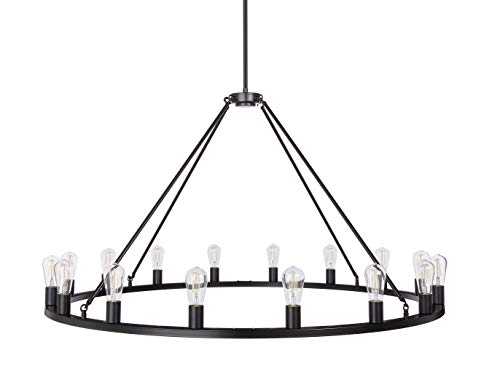 Sonoro Large 50 inch 16 Light Round Dining Room Industrial Chandelier | Black Rustic Kitchen Island Light Fixtures with LED Bulbs LL-CH5-50-5BLK