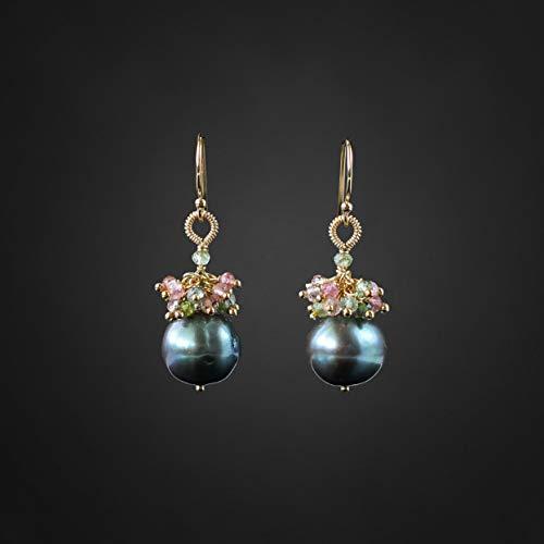 Tahitian Pearls Earrings Tourmaline Earrings Real Pearl Earrings Peacock Pearls Classic Earrings Everyday Earrings Pearl Drop Earrings ()