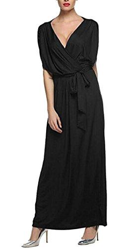 Long Loose Belt V Sexy Neck Short Jaycargogo with Womens Black Dress Wrap Sleeve q486B1w