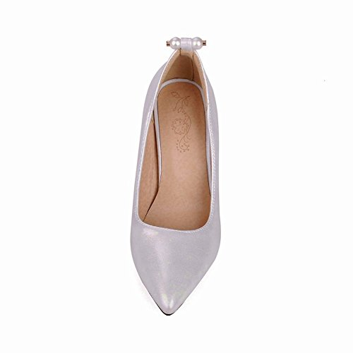 Carolbar Womens Sexy Beaded Stilettos Pointed Toe High Heels Pumps Shoes Silver MALfP