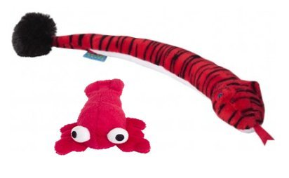 Doggles Cat Toy Bundle   (2 Pack) Plush Lobster & Large Catnip Plush Snake both by