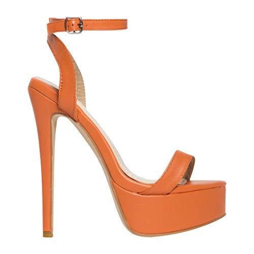 (EUYZOU Women's Fashion High Stiletto Platform Sandals - Open Toe Ankle Strap Dress Heels 5.75