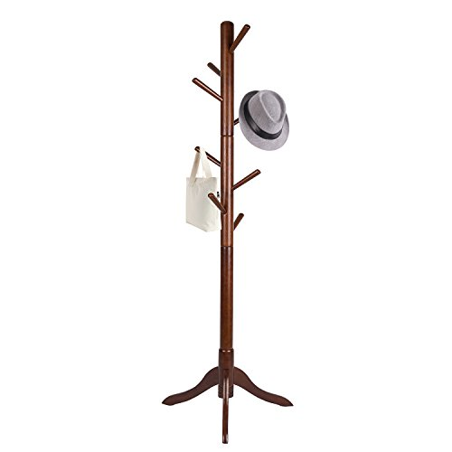 (Vlush Free Standing Coat Rack,Wooden Coat Hat Tree Coat Hanger Holder Enterway Hall Tree with Solid Rubber Wood Base for Coat,Hat,Clothes,Scarves,Handbags,Umbrella-(8 Hooks, Brown))