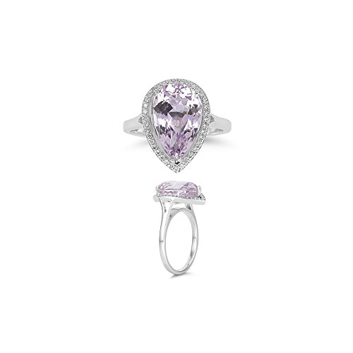 0.19 Cts Diamond & 6.70 Cts Kunzite Ring in 14K White Gold - Valentine's Day (Cts Kunzite Ring)