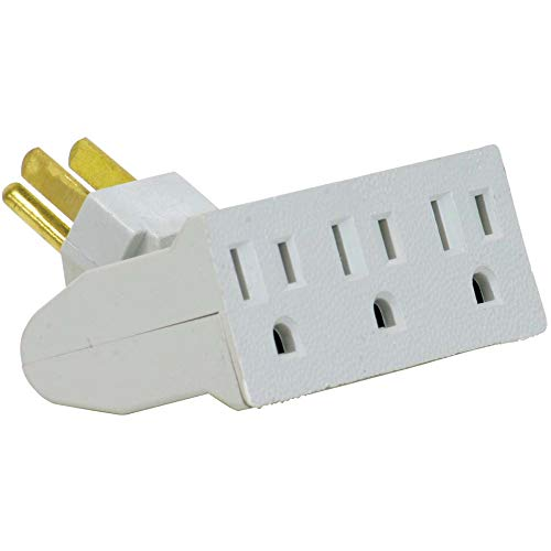 Globe Electric 3-Outlet Lateral Swivel Grounded Wall Adapter Tap, White Finish 46505