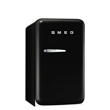 Smeg FAB5URNE 16  50's Retro Style Series Compact Refrigerator with 1.5 cu. ft. Capacity Absorption Cooling Automatic Defrost LED Interior Lighting and Adjustable Shelves in Black with Right