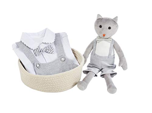 Baby Brielle 2-Piece Stuffed Cat Plush Toy and Matching Tuxedo with Overalls and Bow Onesie Romper for Infant and Toddler Gift Set for Boys Grey