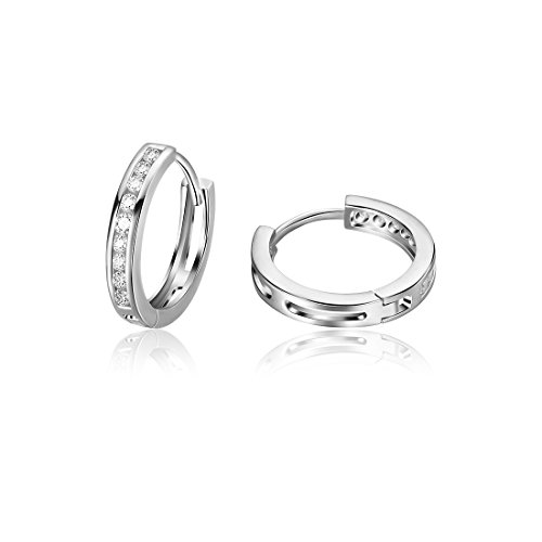 Carleen 925 Sterling Silver Channel Set Round Cut 9-stone Cubic Zirconia CZ Hinged Hoop Earrings for Women Girls Diameter 1.8cm (Silver Cut Stone Earring)