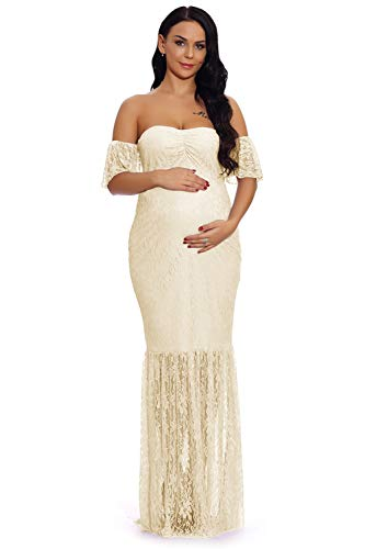 ZIUMUDY Women's Off Shoulder Ruffle Sleeve Lace Mermaid Maternity Baby Shower Gown Maxi Photography Dress (X-Large, Apricot)