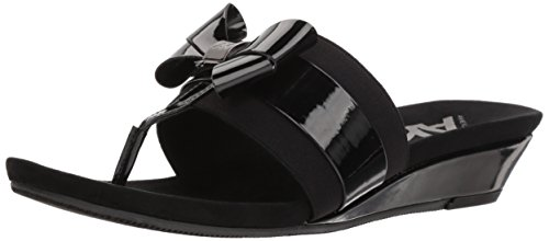 Anne Klein AK Sport Women's impeccable Slide Sandal, Black Synthetic, 6.5 M US