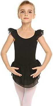 Arshiner Little Girls Ruffle Sleeve Ballet Dance Dress with Skirt Leotards