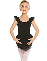 Arshiner Little Girls Ruffle Sleeve Ballet Dance Dress with Skirt Leotards