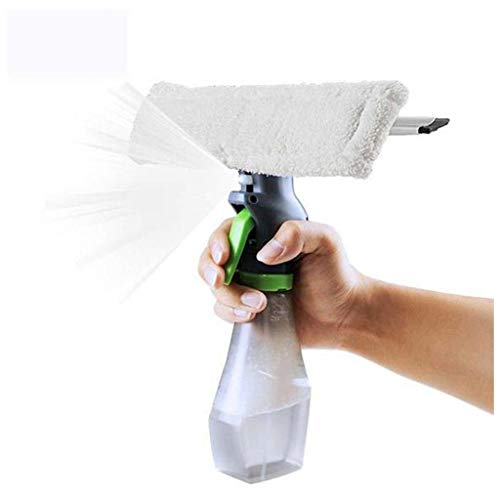 - New Portable Super fiber 3 in 1 Window Cleaner Spray Bottle Wiper Squeegee Microfibre Cloth Pad Kit with Spray, dry, scraper in one, for car, windows,table,kitchen,ceramic tile (11002WH)