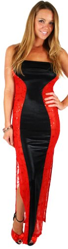 Plus size hourglass Long shimmer tube dress w sequins, black shimmer, red sequins, (Slinky Long Tube Dress)