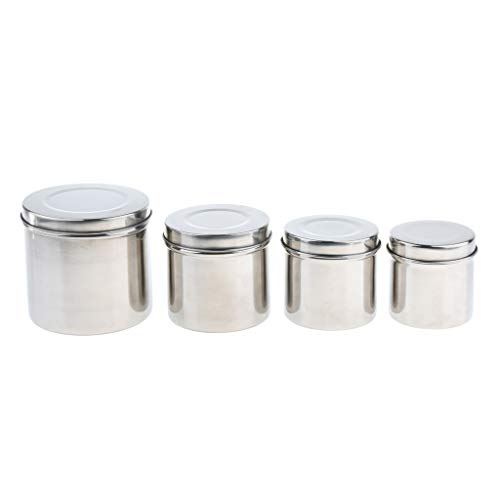 Baosity Set of 4 Stainless Steel Ointment Jar Sponge Cotton Dressing Container W/Lid