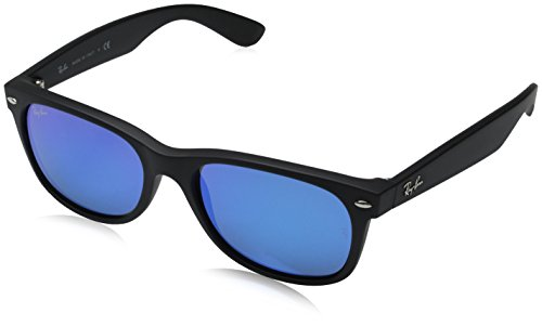 Ray-Ban Unisex New Wayfarer Flash RB2132 622/17 Non-Polarized Sunglasses, Rubber Black/Grey Mirror Blue, 55 - Have Round I Face A