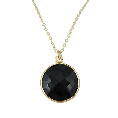 22K Gold plated 925 Sterling Silver Chain Necklace with Black Onyx Round Bezel Gemstone (24) ()