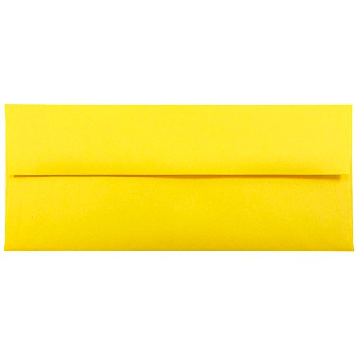 "JAM Paper #10 Business Envelope - 4 1/8"" x 9 1/2"" - Brite Hue Yellow Recycled - 25/pack"