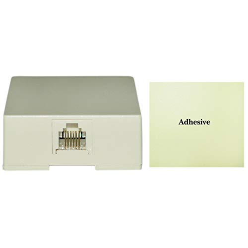 GOWOS Phone Surface Mount Jack - 20 Pack, Ivory - RJ11 / RJ12, Data/Voice, 6P6C (6 Pin 6 Conductor) ()