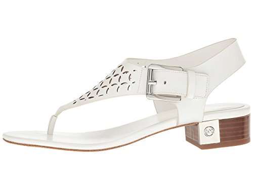 Kors Michael Thongs Leather (MICHAEL Michael Kors Womens London Thong Leather Split, Optic White, Size 9.0)