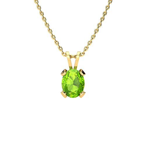 (1 Carat Oval Shape Peridot Necklace In Yellow Gold Over Sterling Silver, 18 Inches)
