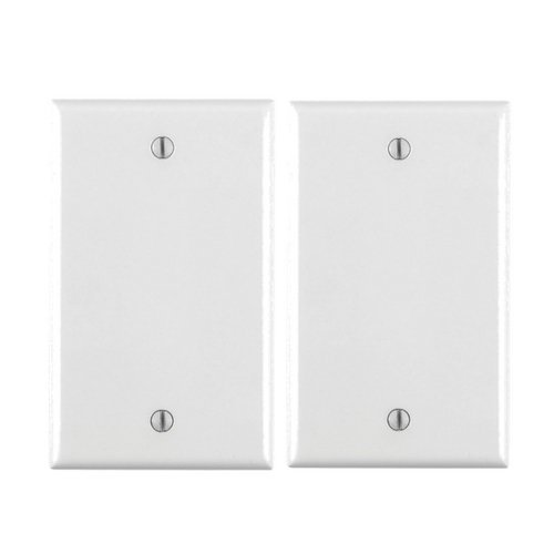 Switch Box Cover - Leviton 80714-W 1-Gang No Device Blank Wallplate, Standard Size, Thermoplastic Nylon, Box Mount, White ... (2 Pack)