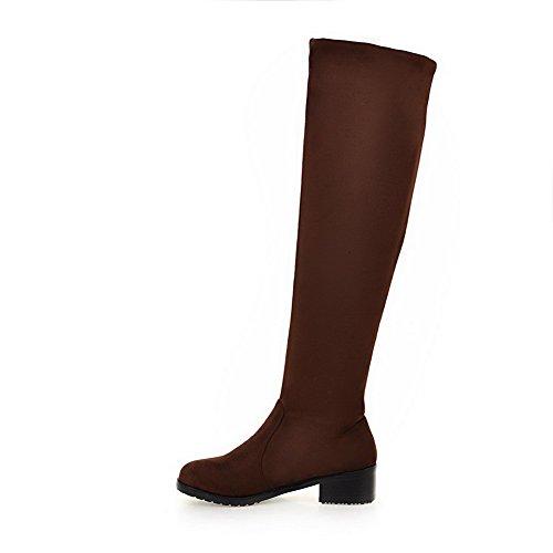 con cordones con Botas cerrada color baja punta puntera Allhqfashion sin cerrado cierre para mujer de marrón con pYRzwx