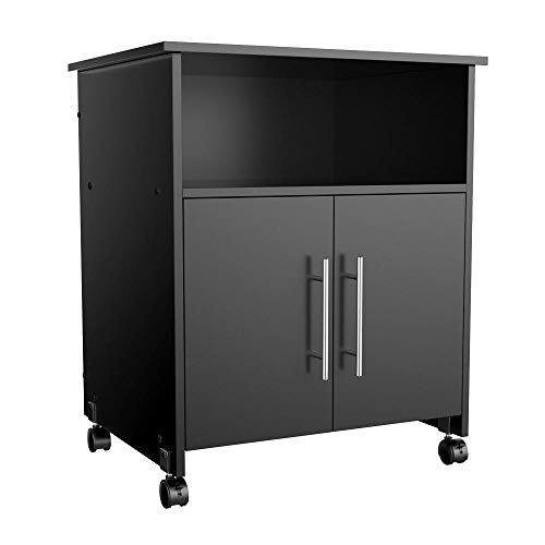 Cupboard Mobile - Topeakmart Mobile Office Desk Cabinet Priter Stand Home Rolling Shelf Cart Storage Cupboard Black