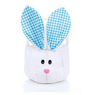 Plush Easter Bunny Basket w/Blue Gingham Ear Accent