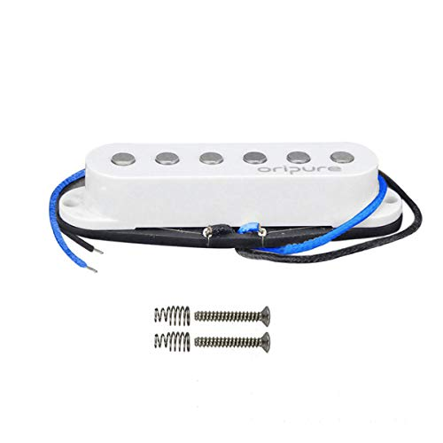 OriPure Alnico 5 Single Coil Pickup Flat Top Middle Position Guitar Strat Pickups Warm Full Sound Fit Fender Stratocaster Pickups Replacement