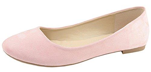 Bella Marie Women's Classic Slip On Round Toe Ballet Flat (7.5 B(M) US, Blush)