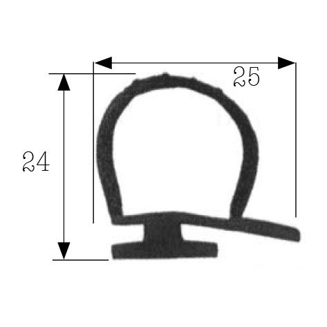 Paella Joint Profil 25x 24mm noir pour porte Cellule vente au mètre