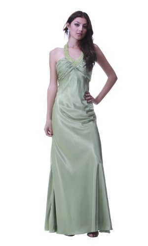 PolyUSA Women's Halter Top Long Charmeuse Evening & Prom Dress L Sage