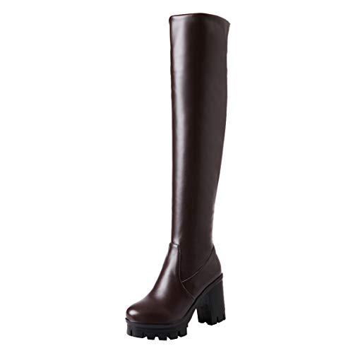 Sopra E Elegante 5cm Stivali Con Blocco Scarpe Moda 9 A Inverno Donna Ginocchio Marrone Plateau Ye Cerniera Tacco qUIwE65q
