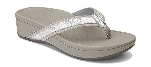Vionic Women's Pacific High Tide Toepost Sandals - Ladies Platform Flip Flops with Orthotic Arch Support Silver Metallic 11 M US