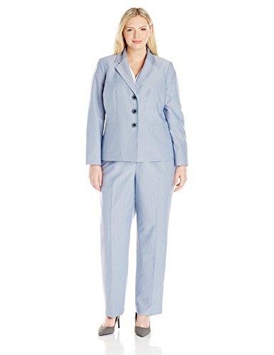 Le Suit Women's Plus Size Pinstripe 3 Button Jacket Pant, Bluebell/Black, 18W